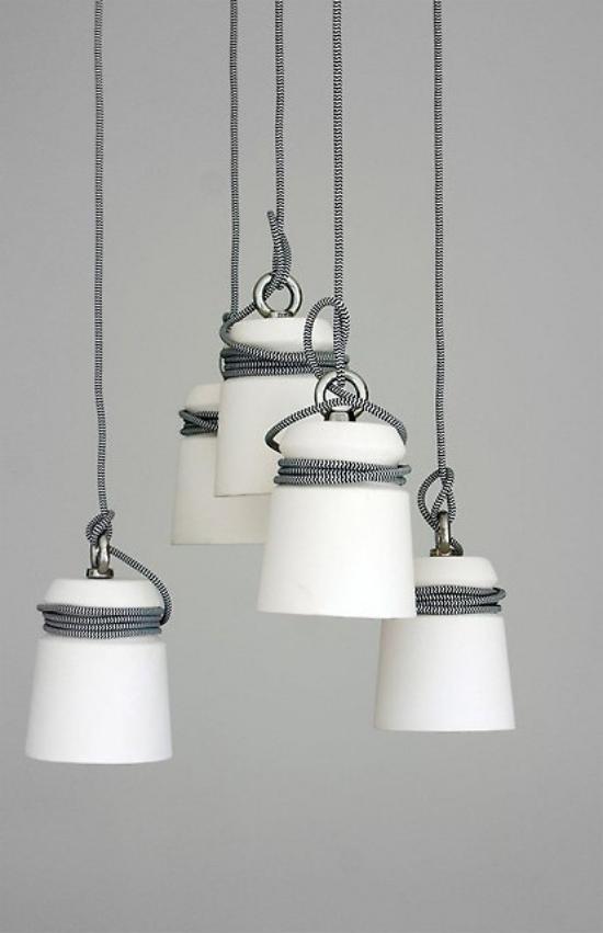 Hängeleuchten ausgefallenes Design in Weiß Seil zum Aufhängen
