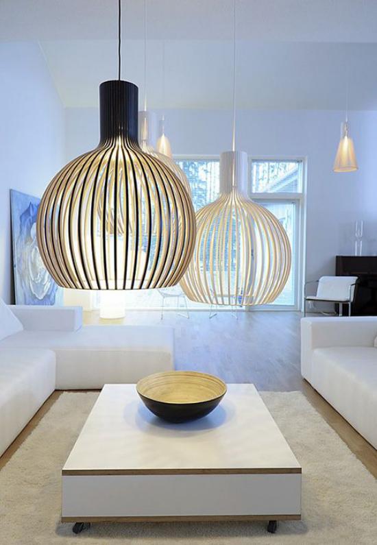 Hängeleuchten große Leuchten über dem Kaffeetisch Must-Have im modernen Interieur halbsphärische Form