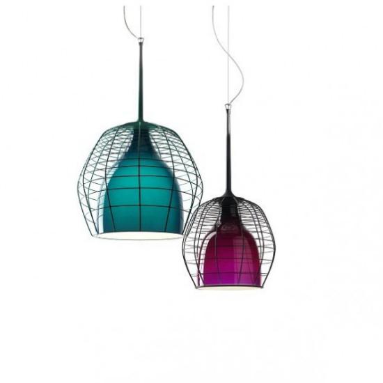 Hängeleuchten zwei Pendelleuchten Metallkonstruktion in Blau und Lila Farbgestaltung