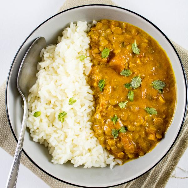 Linsen kochen Reis und Linsen - toll gewürzt