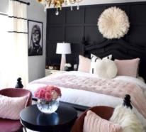Erstaunliche Schlafzimmer Ideen in Rosa und Schwarz