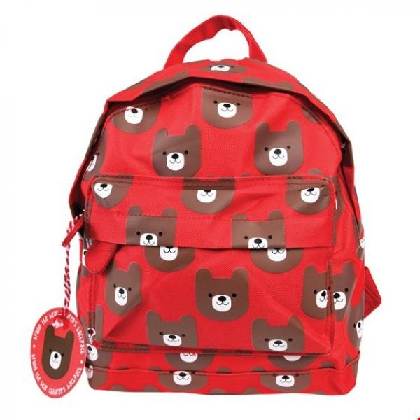 Σχολική τσάντα - κόκκινη σχολική τσάντα με σχέδια