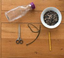 Vogelfutterspender selber bauen: Anleitung für Futterspender aus Plastikflaschen