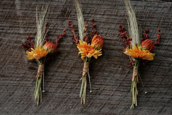chrysanthemen weizen gräser hochzeitsanstecker herbst hochzeit