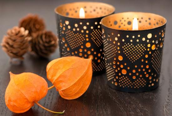Herbstdeko Tischdeko mit Lampionblume