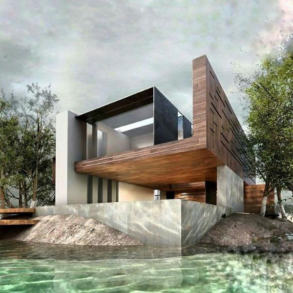 ein super modernes Gebäude im Wasser moderne architektur