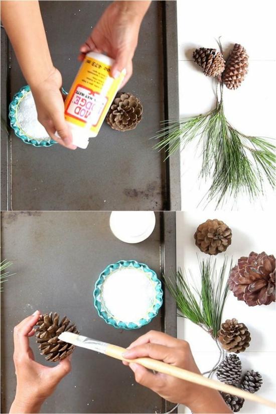 einfache tischdeko hochzeit mit zapfen selber machen