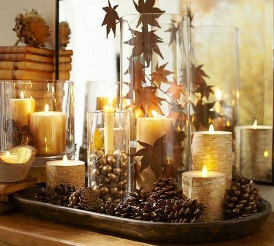 goldene herbstdeko im glas tischdeko