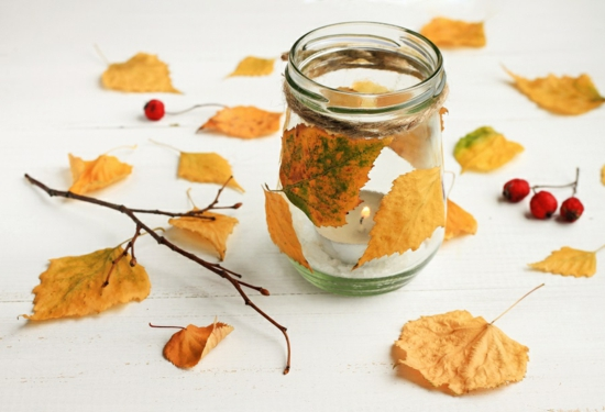 Tischdeko Herbstdeko im Glas