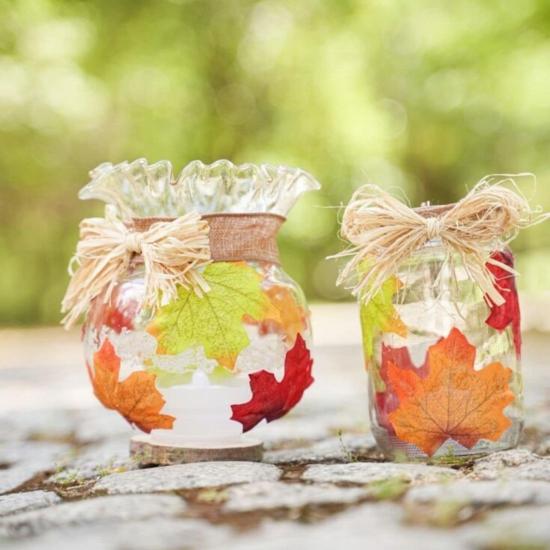 herbstdeko im glas dekorieren mit herbstblättern