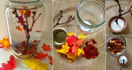 herbstdeko im glas herbstblätter bäumchen