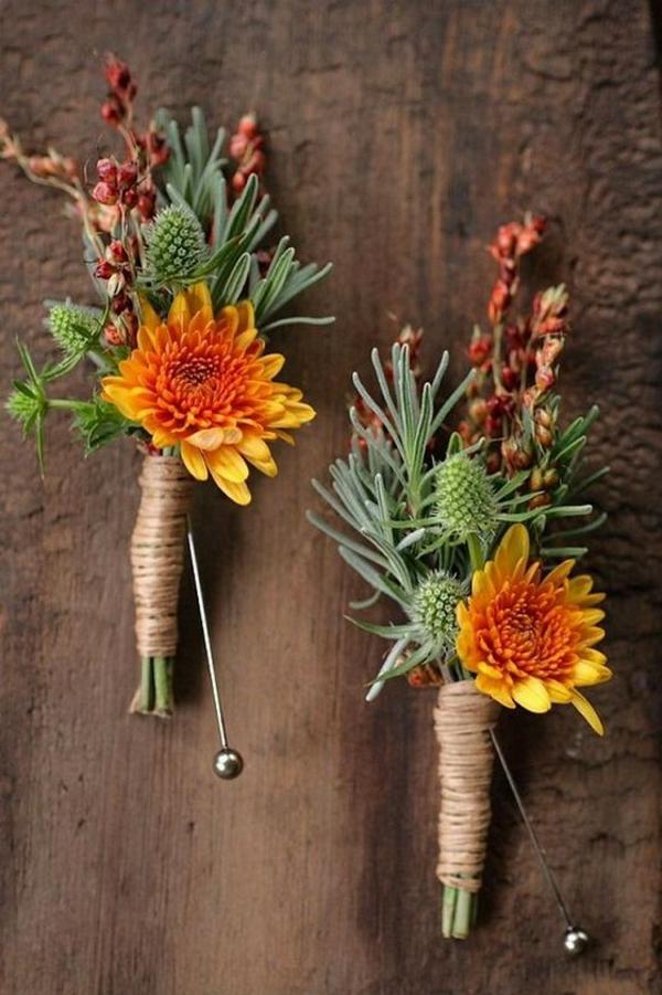 hochzeitsanstecker herbst chrysanthemen distel