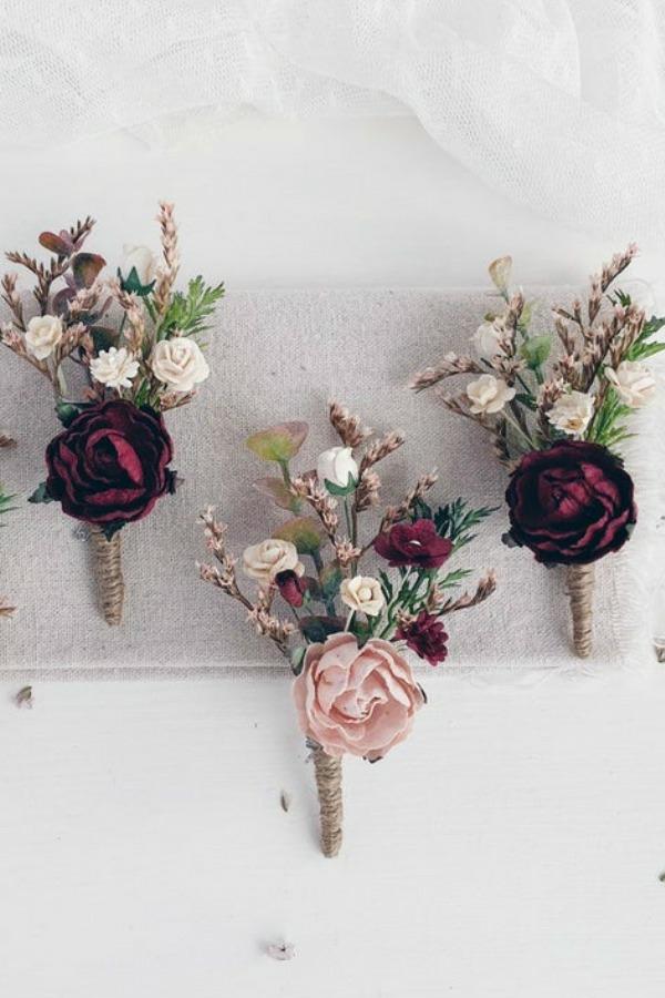 hochzeitsanstecker rosen trockenblumen herbst hochzeit