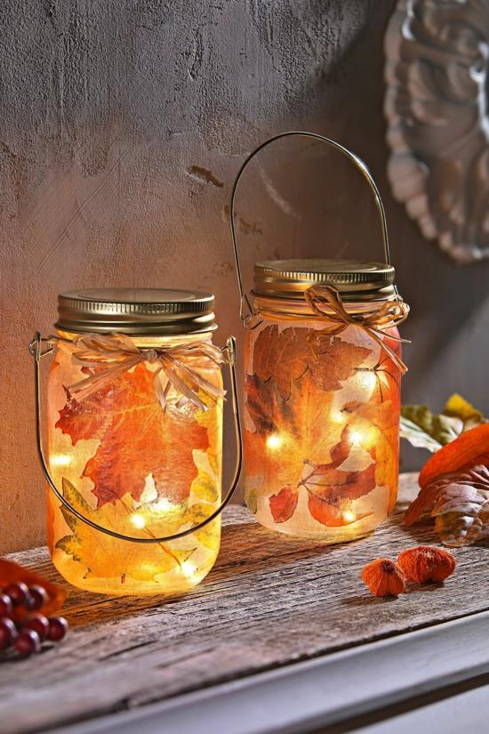 kleine laternen basteln herbstdeko im glas