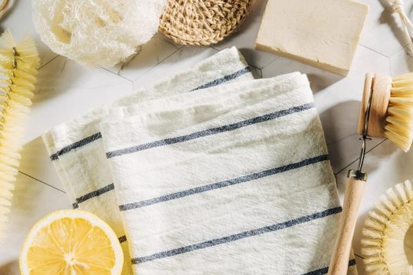 plastikfreie Küche Stofftuch Streifen