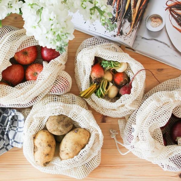 plastikfreie Küche wiederverwendbare Tüten für Obst und Gemüse