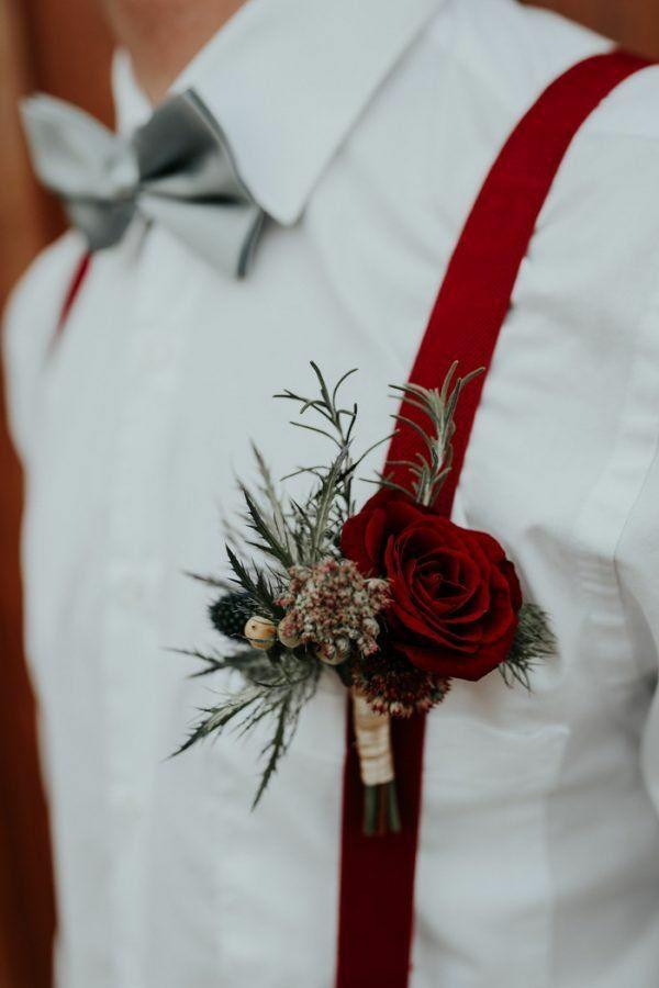 rote rose distel hochzeitsanstecker bräutigam