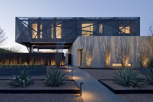 toll bepflanzter innenhof moderne architektur