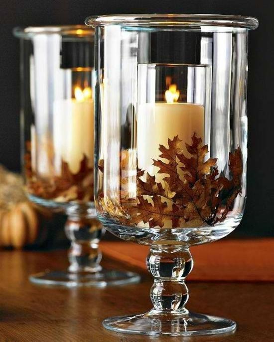 windlicht kerze eichenblätter herbstdeko im glas