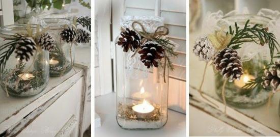 windlichter dekorieren mit zapfen als hochzeitsdeko