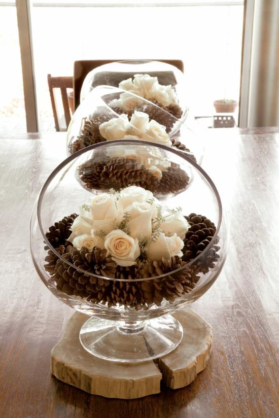 zapfen rosen tischdeko rustikale hochzeit