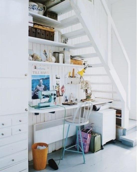 Arbeitsecke unter der Treppe kleines Homeoffice viele Sachen Wirrwarr überladen