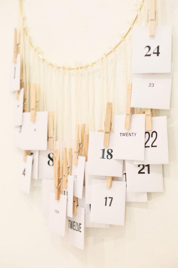 Ausgefallene Adventskalender selber basteln – Ideen und Anleitungen hängender kalender briefe schön