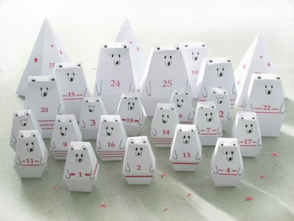Ausgefallene Adventskalender selber basteln – Ideen und Anleitungen origami bären kalender