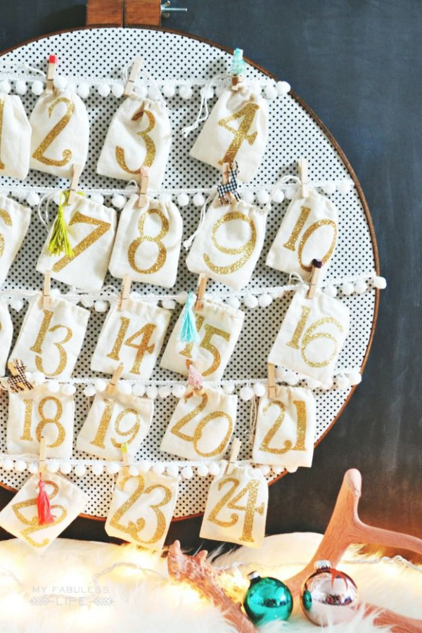Ausgefallene Adventskalender selber basteln – Ideen und Anleitungen stickrahmen kalender kreativ