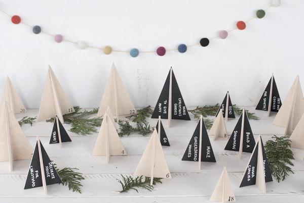 Ausgefallene Adventskalender selber basteln – Ideen und Anleitungen tannenbäume wald holz ideen notizen