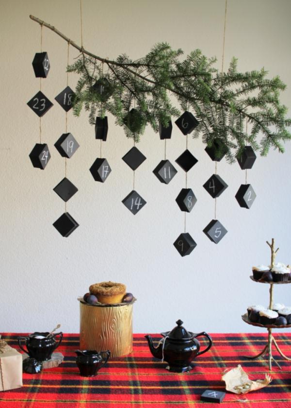 Ausgefallene Adventskalender selber basteln – Ideen und Anleitungen vintage deko ast zweig schachteln