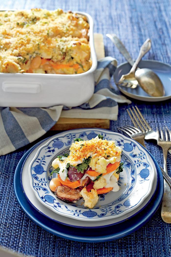 Blumenkohl gesund Rezept Blumenkohl- Kartoffelgratin anderes Gemüse gekochte Eier