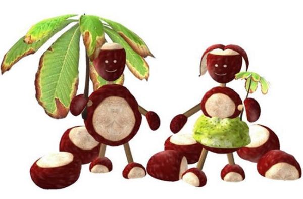 DIY Kunst Figuren zum Selber machen Kastanienfiguren