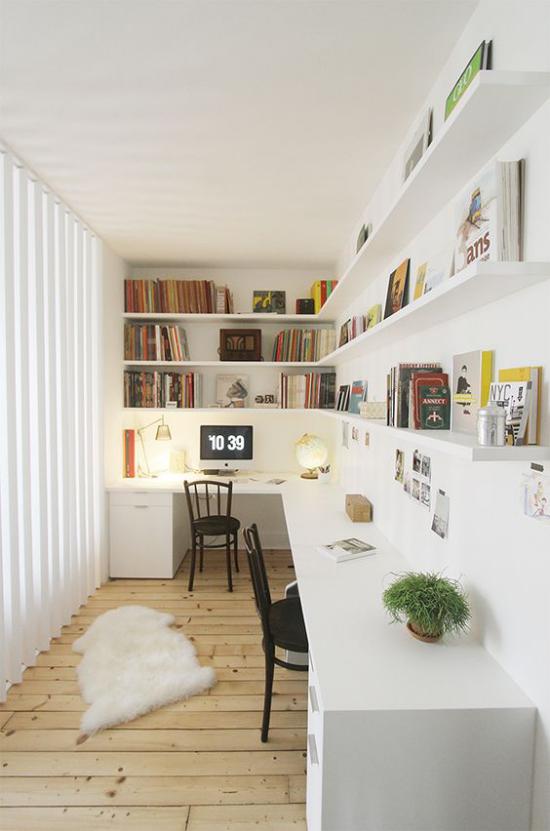 Eckschreibtisch modernes Homeoffice langer Schreibtisch ideen