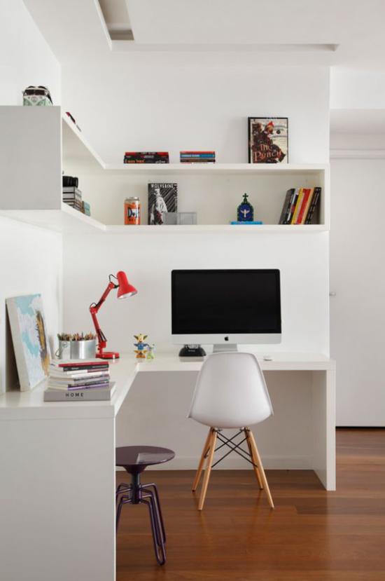 Eckschreibtisch modernes minimalistisches Homeoffice Weiß dominiert