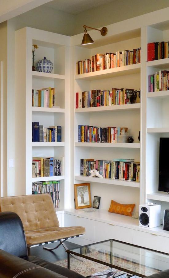 Eingebaute Bücherregale das richtige Beleuchtungskonzept im Voraus durchdenken