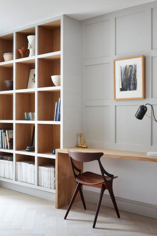 Eingebaute Bücherregale moderne platzsparende Optionen fürs Zuhause Heimbüro praktische Gestaltung