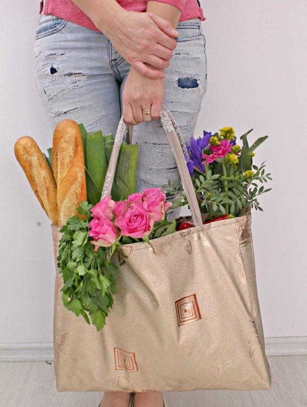Einkaufstasche nähen Anleitung plastkfrei einkaufen