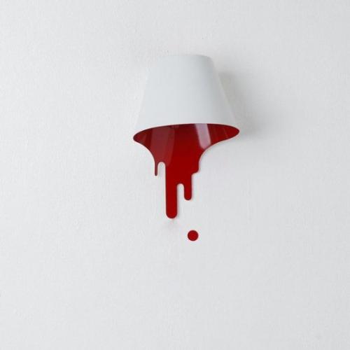 Extravagante Wandleuchten ausgefallen Wandlampe in Weiß und Blutrot einfach im Design beliebt bei den Kunden