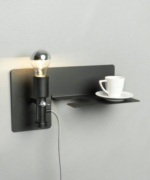 Extravagante Wandleuchten ausgefallenes Design in Industrial Style Wandleuchte integrierter Platz für die Kaffeetasse