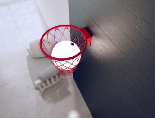 Extravagante Wandleuchten ausgefallenes Modell Basketball Korb Leuchtkugel als Ball drin