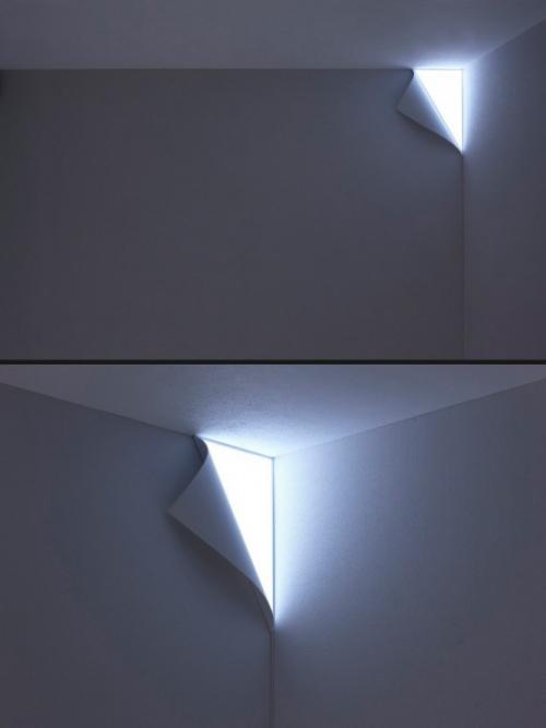 Extravagante Wandleuchten minimalistisches Design wie Tapetenstück integrierte Leuchte