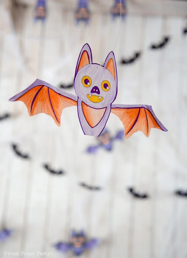 Fledermaus basteln mit Kindern zu Halloween – 50 bezaubernde Ideen und Anleitungen abmalbild fledermaus girlande