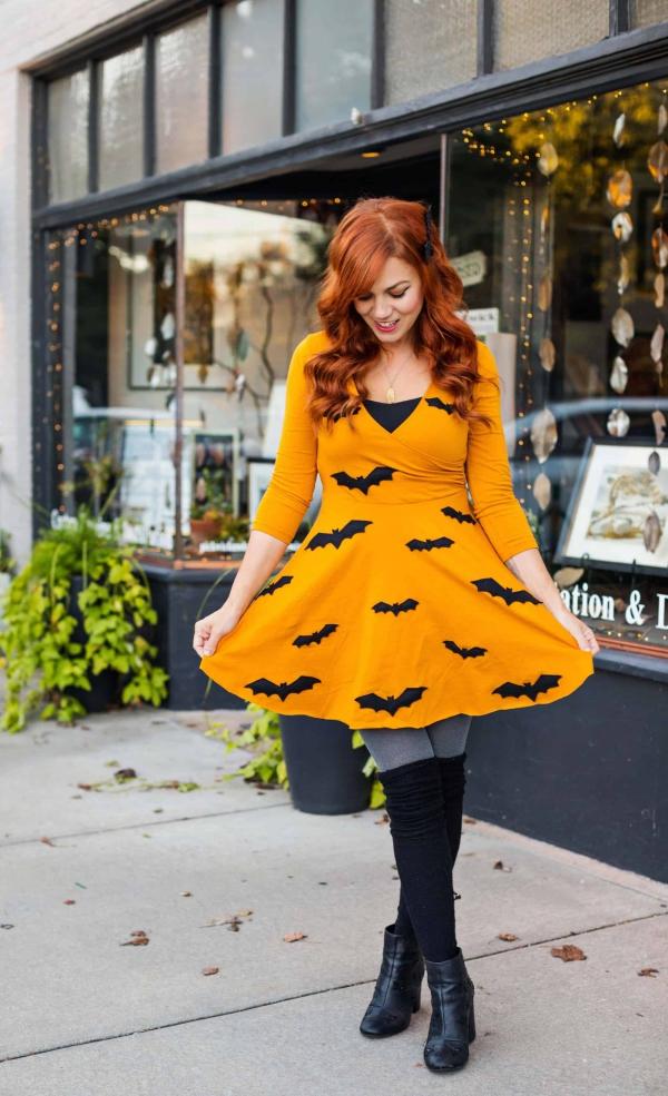 Fledermaus basteln mit Kindern zu Halloween – 50 bezaubernde Ideen und Anleitungen damenkleid herbstkleid fledermäuse deko