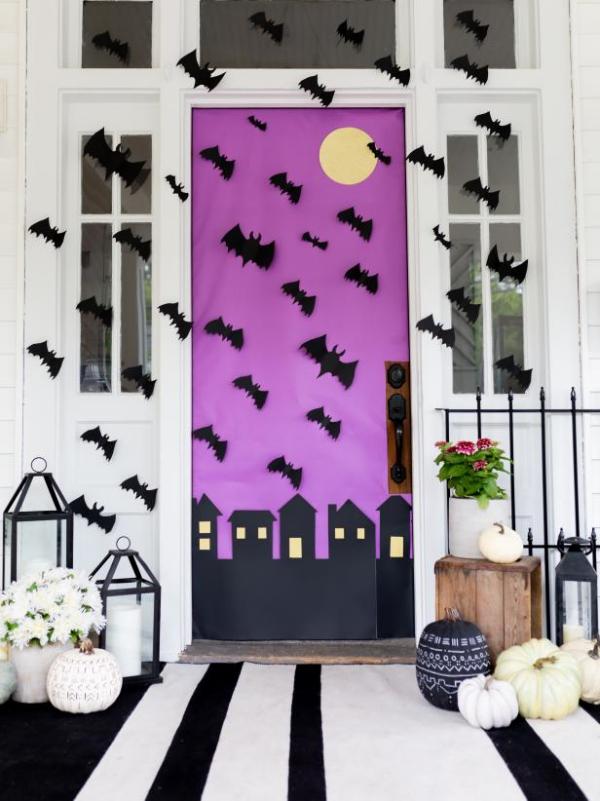 Fledermaus basteln mit Kindern zu Halloween – 50 bezaubernde Ideen und Anleitungen eingang deko ideen papier