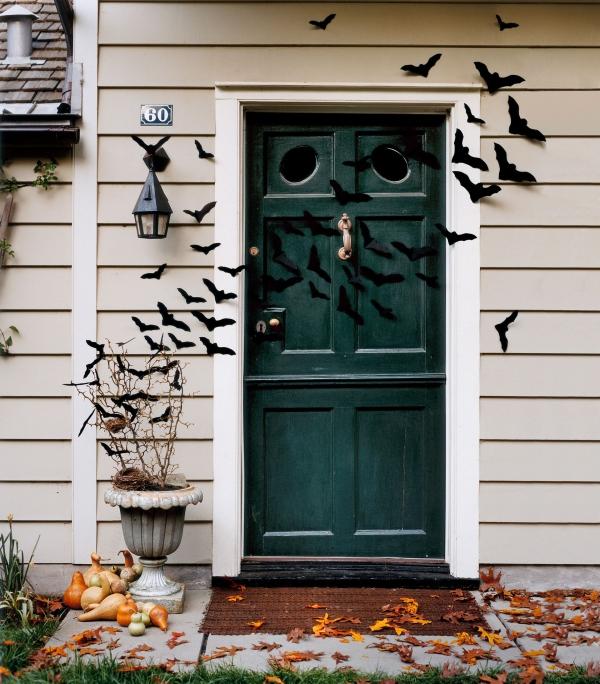 Fledermaus basteln mit Kindern zu Halloween – 50 bezaubernde Ideen und Anleitungen eingang vorgarten deko fledermäuse ideen