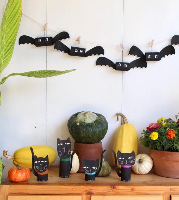 Fledermaus basteln mit Kindern zu Halloween – 50 bezaubernde Ideen und Anleitungen fledermäuse schwarz deko girlande