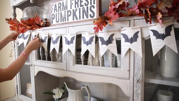 Fledermaus basteln mit Kindern zu Halloween – 50 bezaubernde Ideen und Anleitungen girlande fledermäuse küchen deko