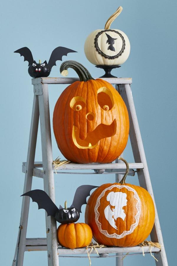 Fledermaus basteln mit Kindern zu Halloween – 50 bezaubernde Ideen und Anleitungen jack on laternen fledermäuse deko