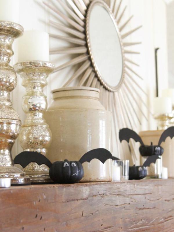 Fledermaus basteln mit Kindern zu Halloween – 50 bezaubernde Ideen und Anleitungen kürbis fledermaus deko halloween